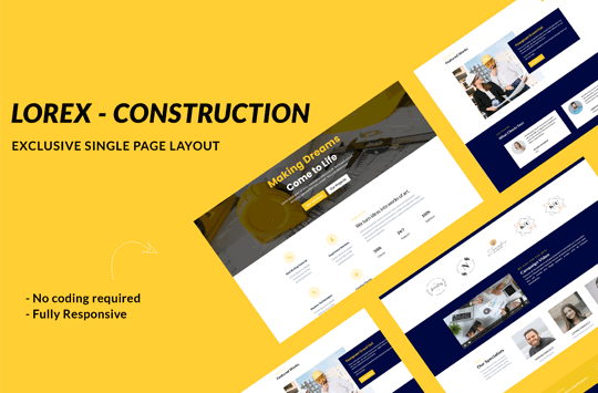 Lorex – Construction Divi One Page Layout