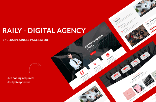 Raily – Digital Agency Divi One Page Layout