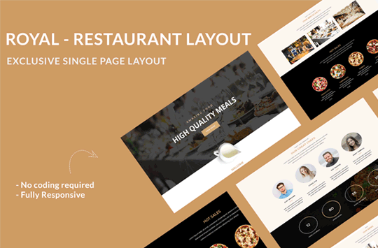 Royal Restaurant Landing Divi Theme Layout