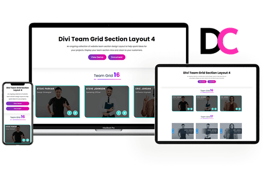 Divi Team Grid Section Layout 4