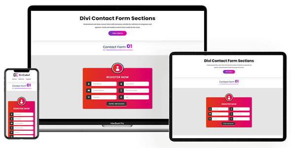 Divi Contact Form Sections Layout