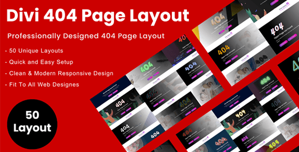Divi 404 Error Page Layout Pack