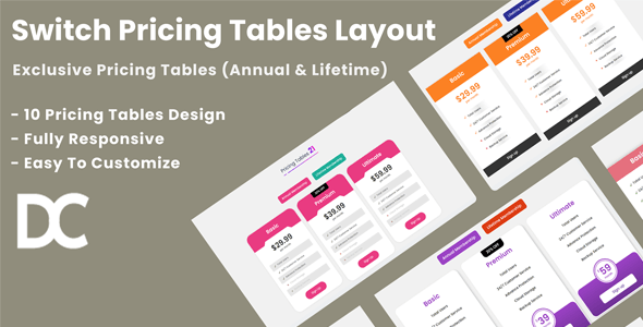 Divi Switch Pricing Tables Layout 3